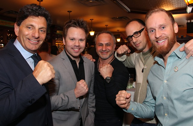 From left, lawyer Lawrence Greenspon, Matt Whitteker, Marwan Abdalla, Wayne Shimoon and Scott Whitteker attended the Irish Canadian Saint Patrick's Week Luncheon held on Friday, March 10, 2017 at the Heart & Crown Irish Pub, which is a major sponsor of their Fight for the Cure boxing benefit slated for this fall. (Photo by Caroline Phillips)