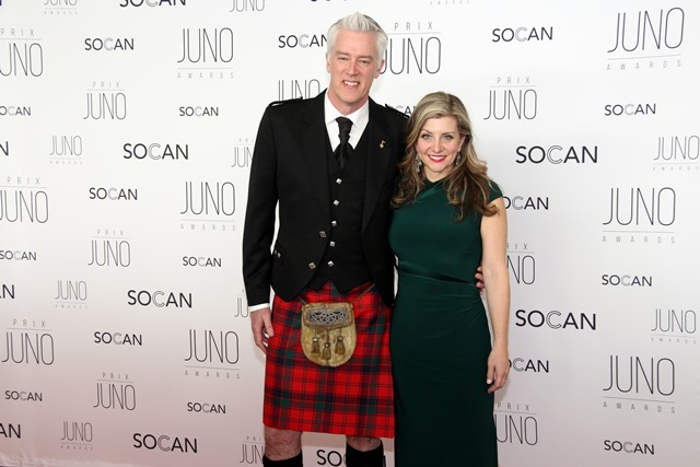 Allan Reid, president and CEO at the Canadian Academy of Recording Arts and Sciences and the JUNO Awards, with his wife, singer Kim Stockwood, on the red carpet at the JUNO Gala Dinner and Awards held at the Shaw Centre on Saturday, April 1, 2017.