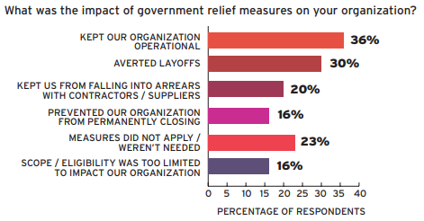 Bar chart of impact of government relief measures