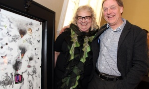 Elspeth McKay, executive director of Operation Come Home, with Michael Scrivens, vice-president of Scrivens Insurance and Investment Solutions, at the Glebe Community Centre on Saturday, March 25, 2017, for the return of the Big Art Come Back fundraiser for Big Brothers Big Sisters of Ottawa and Operation Come Home. (Photo by Caroline Phillips)