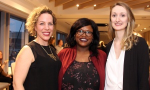 From left, Harmony House board members Sandra Pedersen, account executive with L'Oréal Canada, public servant Cassandre Marcelin and Jessica O'Dacre, manager of communications for the Tourism Industry Association of Ottawa, at Andaz Ottawa Byward Market on Friday, March 24, 2017, for Ladies' Night in support of the second-stage women's shelter. (Photo by Caroline Phillips)