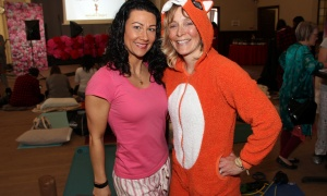 From left, panelist Lydia Di Francesco, founder and head trainer with the 15 Minute Workout Club, with Joanne Jordan, vice president of business development for Nearest.com, dressed down for the Women in Business Conference Pre-Event Pajama Party held at allsaints on Sunday, March 5, 2017. (Photo by Caroline Phillips)