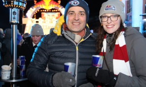 Mirko Bibic, executive vice-president and chief legal and regulatory officer at BCE and Bell Canada, with Kim Farr, a senior manager at CIBC, on the terrace of the Fairmont Château Laurier on Saturday, March 4, 2017, for the VIP party for the Red Bull Crashed Ice world championship. (Photo by Caroline Phillips)
