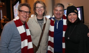 From left, Brett Fripp, first vice-president with CIBC Wood Gundy, with his wife Kate Faughnan and Jeff York, chief executive of the Farm Boy grocery chain, and his wife, Joanne, at a VIP party held at the Fairmont Château Laurier on Saturday, March 4, 2017, during the Red Bull Crashed Ice world championship that took place next to the historic hotel. (Photo by Caroline Phillips)
