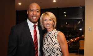Grey Cup-winning quarterback Henry Burris and double-gold Olympic athlete Carolyn Waldo, seen at the VIP reception, hosted the 14th annual Inspiration Awards Gala in support of mental health, held at the Delta Ottawa City Centre on Friday, March 3, 2017. (Photo by Caroline Phillips)