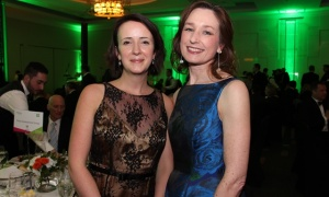 From left, Teresa Marques, director of strategic partnerships for the Rideau Hall Foundation, with Mariette MacIsaac, manager of the Trinity Development Foundation, at the 14th annual Inspiration Awards Gala, held at the Delta Ottawa City Centre on Friday, March 3, 2017, in support of the Royal Ottawa Foundation for Mental Health. (Photo by Caroline Phillips)