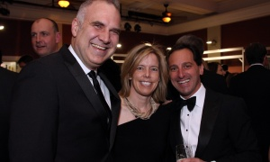 From left, Rideau-Rockcliffe Ward Coun. Tobi Nussbaum with his wife, Dr. Liz Muggah, and Dan Goldberg, president and CEO of Telesat, at Elmwood School's 28th annual gala, held at the all-girls private school in Rockcliffe Park on Saturday, April 22, 2017. (Photo by Caroline Phillips)