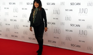 Buffy Sainte-Marie, who was honoured with the Allan Waters Humanitarian Award, on the red carpet at the JunoGala Dinner and Awards held at the Shaw Centre on Saturday, April 1, 2017. (Photo by Caroline Phillips)