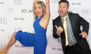 Canadian children's musical duo Taes Leavitt and Nick Adams from Splash 'N Boots couldn't hide their enthusiasm on the red carpet at the JunoGala Dinner and Awards held at the Shaw Centre on Saturday, April 1, 2017. (Photo by Caroline Phillips)