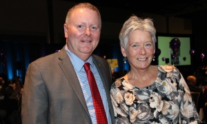 "CHEO Foundation president and CEO Kevin Keohane with incoming board chair Liseanne Forand at the 20th annual ""For the Kids"" Charitable Auction, held at the Shaw Centre on Thursday, April 20, 2017, to support programs and services at the Ottawa Children's Treatment Centre at CHEO. (Photo by Caroline Phillips)"