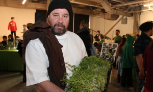 Chef and owner Patrick Garland of Absinthe Café, with microgreens grown with hydroponic technology, at The Innovation Centre at Bayview Yards on Thursday, April 6, 2017, for the official launch of the Parkdale Food Centre's Growing Futures initiative. (Photo by Caroline Phillips)