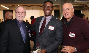 From left, Jeff Turner, vice president with Kind Canada Généreux, with Parkdale Food Centre board members Rev. Anthony Bailey from Parkdale United Church and Bruce Burrows, a partner at Collins Barrow Ottawa LLP,  at the food centre's official launch of its Growing Futures initiative, held at The Innovation Centre at Bayview Yards on Thursday, April 6, 2017. (Photo by Caroline Phillips)