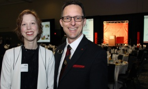 Guest speaker Charlynne MacCharles with table captain John Ouellette, vice president of philanthropy for the Ottawa Regional Cancer Foundation,  at the Cancer Champions Breakfast held at the Ottawa Conference and Event Centre on Wednesday, May 10, 2017. (Photo by Caroline Phillips)