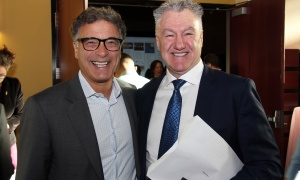 From left, Stephen Greenberg, president at Osgoode Properties, with table captain Carmine Mazzotta, president of Innovative Financial Group, at the Cancer Champions Breakfast held at the Ottawa Conference and Event Centre on Wednesday, May 10, 2017. (Photo by Caroline Phillips)