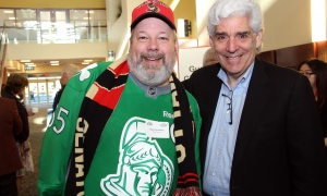 Dan Greenberg, owner of Ferguslea Properties (and arguably our city's biggest Ottawa Senators fan), with fellow table captain David Appotive, co-owner of Howard Fine Jewellers, at the Cancer Champions Breakfast held at the Ottawa Conference and Event Centre on Wednesday, May 10, 2017. (Photo by Caroline Phillips)