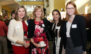 From left, Dr. Rachel Goodwin, Dr. Susan Dent, Dr. Stéphanie Brûlé and Dr. Moira Rushton-Marovac  at the Cancer Champions Breakfast held at the Ottawa Conference and Event Centre on Wednesday, May 10, 2017. (Photo by Caroline Phillips)