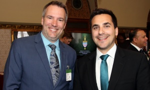 From left, Jeff Hopper, anchor, weather specialist and radio host at Bell Media, with Coun. Michael Qaqish (Gloucester-South Nepean) at the Chow Down for Charity Luncheon for Citizen Advocacy, held at Parliament Hill on Wednesday, March 3, 2017.