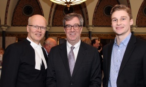 From left, Speaker of the House of Commons Geoff Regan with Mayor Jim Watson and his assistant, Patrick Champagne, at the Chow Down for Charity Luncheon held on Parliament Hill on Wednesday, May 3, 2017. (Photo by Caroline Phillips)