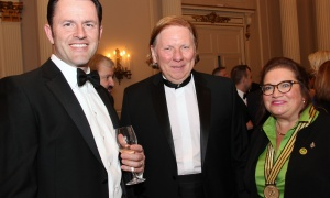 From left, Simon Jacques, president of Airbus Defence & Space Canada, with Supreme Court Justice Malcolm Rowe and Yvonne Jones, Liberal MP for Labrador, at the Politics & the Pen Gala held at the Château Laurier on Wednesday, May 10, 2017. (Photo by Caroline Phillips)