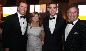 From left, Politics & the Pen co-hosts Scott Brison and Rona Ambrose with their respective spouses, Maxime St-Pierre and J.P. Veitch in the ballroom of the Château Laurier on Wednesday, May 10, 2017. (Photo by Caroline Phillips)