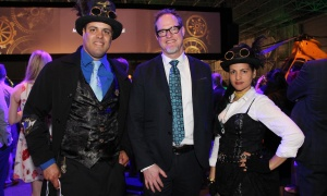 Chris Kitzan, director general of the Canada Aviation and Space Museum, is flanked by Ralph Daguilh and Suleicy Sanchez Suarez at the steampunk-themed National Science and Innovation Gala held at the Canada Aviation and Space Museum on Wednesday, May 17, 2017. (Photo by Caroline Phillips)