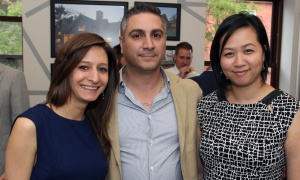 From left, Ashley Lepine, Mike Sacca and Thu Vu from Axiom Interiors & Irpinia Kitchens  at the launch of Gemstone Corporation's new office, design centre and showroom at 252 Argyle Avenue, held on Thursday, June 1, 2017. (Photo by Caroline Phillips)