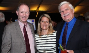 From left, Alan Whitten, president of Huntington Properties, with Julie Taggart,  a vice president with Taggart Realty Management, and Tom Schonberg, president and CEO of the Queensway Carleton Hospital, at the Gold Plate Dinner held at the Hellenic Meeting and Reception Centre on Tuesday, June 13, 2017. (Photo by Caroline Phillips)