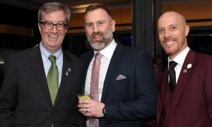 From left, Mayor Jim Watson with Jeff Frost, owner of the Wellington Diner, and Yannick Beauvalet, owner of L'Hexagone Menswear at Ringside for Youth XXIII, held at the Shaw Centre on Thursday, June 15, 2017. (Photo by Caroline Phillips)