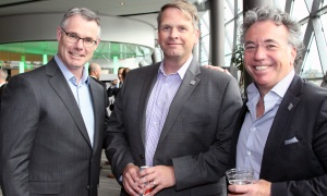 From left, Rob Pierce, vice president of planning and development for Tomlinson Group, with Derek Howe, chief operating officer of Zibi, and Dennis Laurin, owner of Laurin Group, at Ringside for Youth XXIII, held at the Shaw Centre on Thursday, June 15, 2017. (Photo by Caroline Phillips)