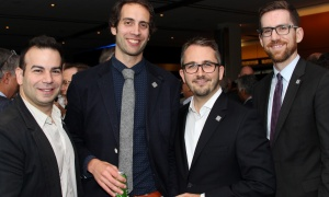 From left, Akis Vitsentzatos with lawyer Justin Dubois (Emond Harnden), Michel Liboiron, ‎senior director of government relations and public policy at CIBC, and Tim Downing with the Canadian Bankers Association at Ringside for Youth XXIII, held at the Shaw Centre on Thursday, June 15, 2017. (Photo by Caroline Phillips)