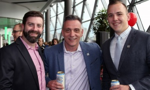 From left, Adam Lariviere from AFTIA with the company's chief executive, Richard McIlroy, and Guillaume Clement, also with AFTIA,  at Ringside for Youth XXIII, held at the Shaw Centre on Thursday, June 15, 2017. (Photo by Caroline Phillips)