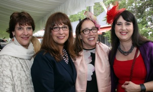 From left, Thyme & Again owner Sheila Whyte with Nathalie Gauthier, Sarah Baxter and Genevieve Giroux at the annual Cornerstone Garden Party & Fashion Show held at the official residence of the German ambassador on Sunday, June 4, 2017. (Photo by Caroline Phillips)