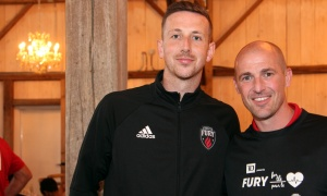 From left, Ottawa Fury player Shane McEleney with the team's head coach, Paul Dalglish,  at the Fury for the Heart benefit for the Montfort Hospital, held at Stonefields Event Destination on Sunday, June 25, 2017. (Photo by Caroline Phillips)
