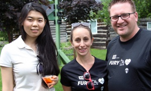 From left, Claire Lu, a senior accountant at KPMG, with Kevin Kolliniatis, a partner at KPMG and a member of the Montfort Hospital Foundation board, and his wife, Melanie Leclair,   at the Fury for the Heart benefit for the Montfort Hospital, held at Stonefields Event Destination on Sunday, June 25, 2017. (Photo by Caroline Phillips)