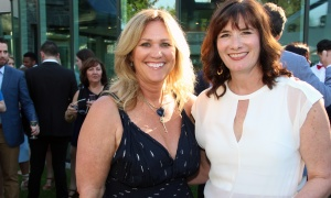 Mary Taggart, publisher of Ottawa At Home magazine, with Andrea Laurin at the Twinkle Gala held at Michael Potter's estate in Rockcliffe Park on Thursday, June 8, 2017. (Photo by Caroline Phillips)