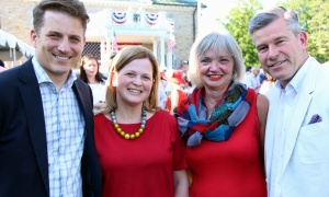 From left, Michael Waters, CEO of The Minto Group, with his wife, Sarah, and Carol Devenny, managing partner in Ottawa of PwC, and her husband, Grant McDonald, managing partner in Ottawa of KPMG, at the U.S. Embassy's Fourth of July celebration, held Tuesday, July 4, 2017. (Photo by Caroline Phillips)