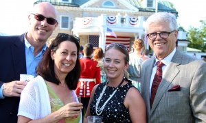 From left, Larry Elliot, law partner at Borden Ladner Gervais (BLG), with his wife, Jennifer, and BLG senior associate Heather Dawe and BLG partner Marc Jolicoeur at the U.S. Embassy's Fourth of July Celebration, held at Lornado in Rockcliffe Park on Tuesday, July 4, 2017. (Photo by Caroline Phillips)