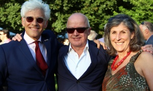 From left, Jacques Shore, partner at Gowling WLG, with Kevin Hanson,  president and publisher of Simon & Schuster Canada, and Dr. Donna Shore at the U.S. Embassy's Fourth of July celebration, held at Lornado in Rockcliffe Park on Tuesday, July 4, 2017. (Photo by Caroline Phillips)