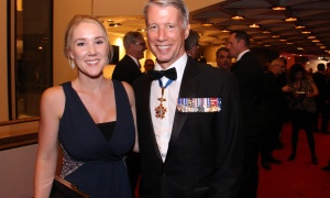 Liberal MP Andrew Leslie, from the Ottawa riding of Orléans, with his daughter Erica at the National Arts Centre Gala held at the NAC on Saturday, September 16, 2017. Photo by Caroline Phillips