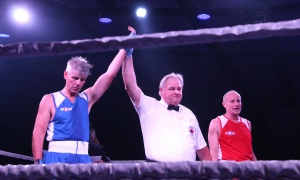 Steve McBurney is declared the winner over Micheal Burch at the Fight for the Cure charity boxing gala, held at the Hilton Lac-Leamy on Saturday, September 23, 2017. Photo by Caroline Phillips