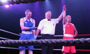 Shawn Hamilton is declared the winner over Sean Cavanagh following their white-collar matchup at the Fight for the Cure charity boxing gala, held at the Hilton Lac-Leamy on Saturday, September 23, 2017. Photo by Caroline Phillips