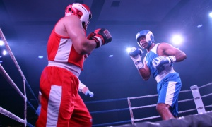 Kammal Tannis in the ring with Jim Carty at the Fight for the Cure charity boxing gala, held Saturday, September 23, 2017. Photo by Caroline Phillips