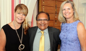From left, photographer Michelle Valberg with Dr. Zul Merali and Hilary Allen, from Royal LePage Performance Realty, at Rideau Hall on Wednesday, September 20, 2017, for a reception held for the Royal's Women For Mental Health. Photo by Caroline Phillips