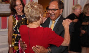 Sharon Johnston embraces Dr. Zul Merali at a reception she hosted at Rideau Hall on Wednesday, September 20, 2017 for the Royal's Women for Mental Health. Photo by Caroline Phillips