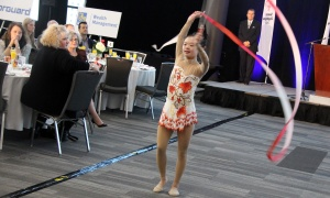 Special Olympics athlete,  rhythmic gymnast Kimana Mar, performs for attendees at the 13th Annual Special Olympics Festival Breakfast, held at the Shaw Centre on Friday, October 20, 2017. Photo by Caroline Phillips