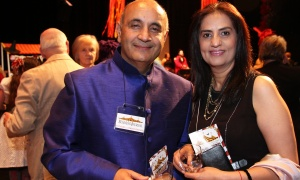 Raj Narula, founder and CEO of Inca Synergies, with his wife, Jyoti, at the AOE Arts Council's annual Artinis benefit soiree, held at the Shenkman Arts Centre on Thursday, October 26, 2017. Photo by Caroline Phillips