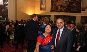 Nishith Goel, CEO of Cistel Technology, with his wife, Nita, at Soirée Salus held at the Embassy of France on Thursday, October 5, 2017. Photo by Caroline Phillips