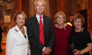 From left, Susannah Dalfen, who's on the board of Ottawa Salus, with retired judge Brian Lennox and his wife, Susan Lennox, and Ellen Wright, at Soirée Salus, held at the Embassy of France on Thursday, October 5, 2017. Photo by Caroline Phillips