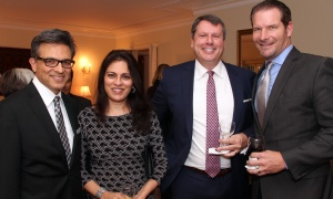 From left, Goldy Hyder, president and CEO at Hill+Knowlton Strategies, with his wife, Fatima, along with Spiteri & Ursulak LLP partner Chris Spiteri and Ted Wagstaff, president of North45 Partnerships, at a reception hosted by the Austrian ambassador at his official residence in Rockcliffe on Wednesday, October 18, 2017, for patrons of the upcoming Viennese Winter Ball. Photo by Caroline Phillips