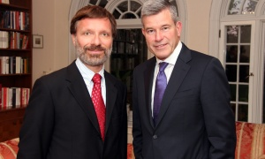 From left, Bernhard Faustenhammer, deputy head of mission for the Austrian embassy, with Grant McDonald at a reception hosted by the Austrian ambassador at his official residence in Rockcliffe on Wednesday, October 18, 2017, for patrons of the upcoming Viennese Winter Ball. Photo by Caroline Phillips